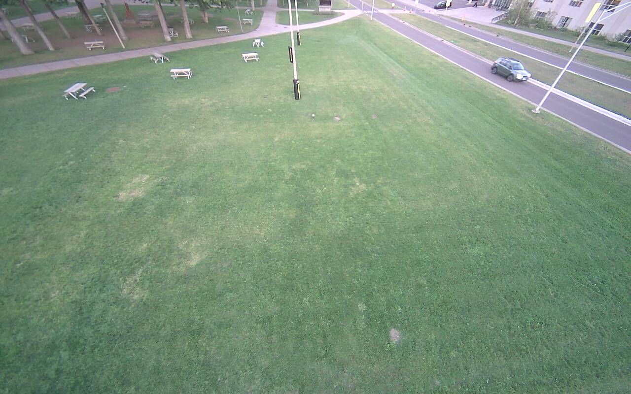 Aerial view of the gold broomball rink.