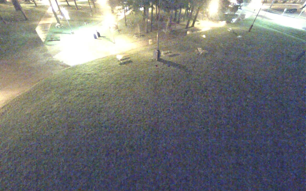 Aerial view of the black broomball rink.