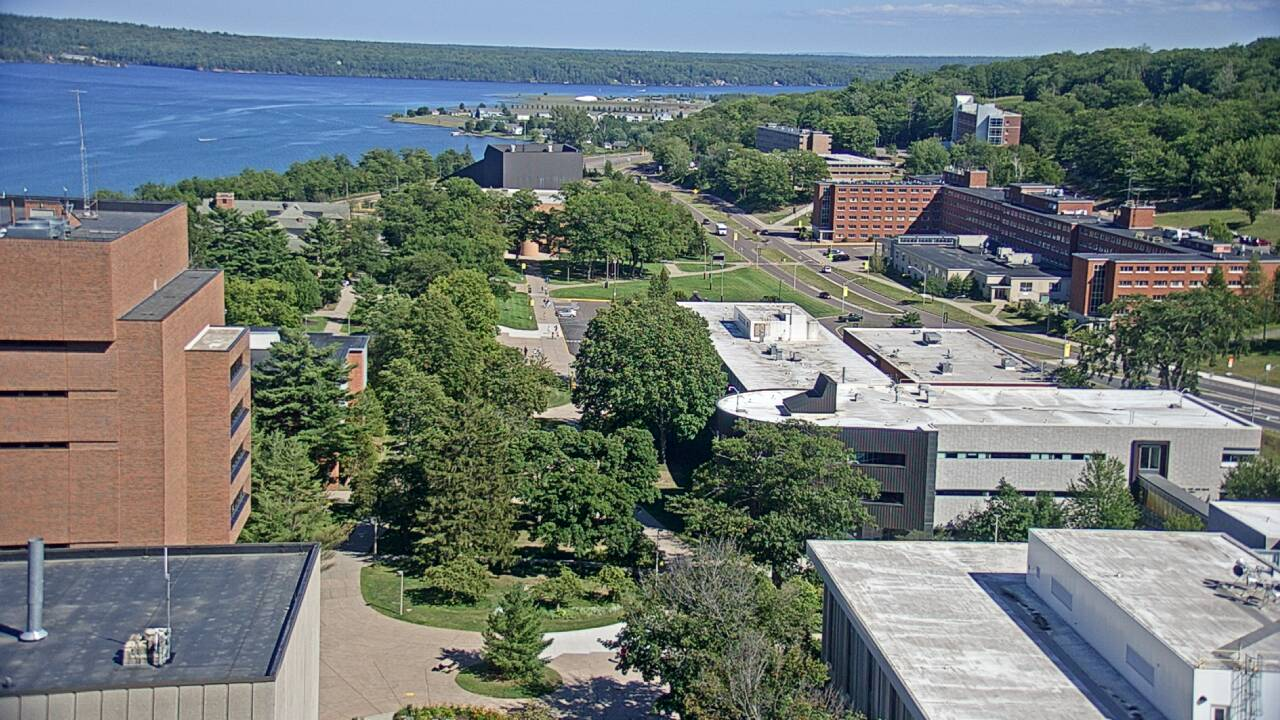 A view of campus from the Mechanical Engineering and Engineering Mechanics Building.